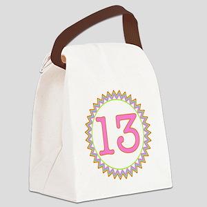 Number 13 Sherbert Zig Zag Canvas Lunch Bag