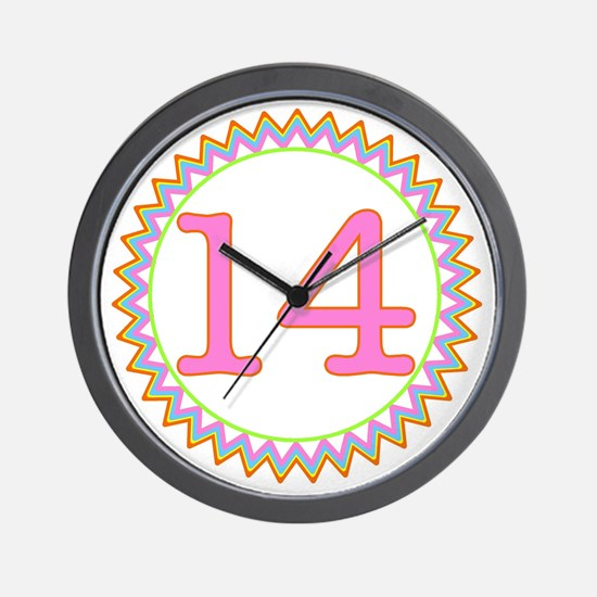 Number 14 Sherbert Zig Zag Wall Clock