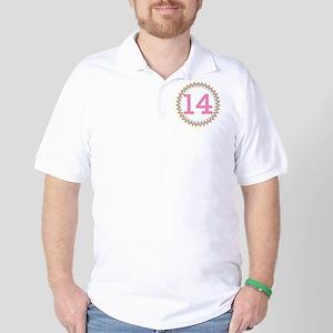 Number 14 Sherbert Zig Zag Golf Shirt