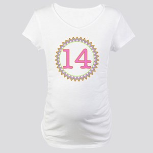 Number 14 Sherbert Zig Zag Maternity T-Shirt