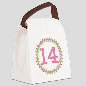 Number 14 Sherbert Zig Zag Canvas Lunch Bag