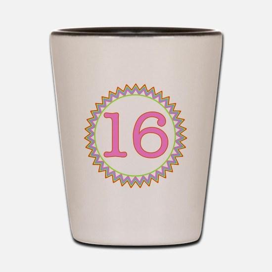 Number 16 Sherbert Zig Zag Shot Glass