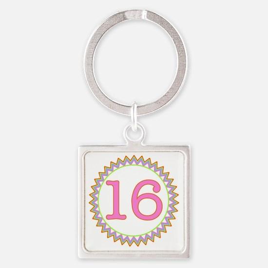 Number 16 Sherbert Zig Zag Square Keychain