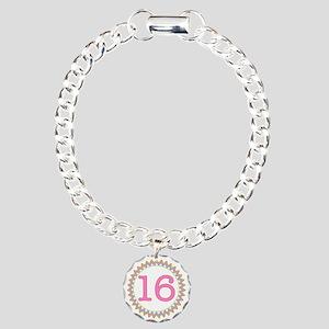 Number 16 Sherbert Zig Z Charm Bracelet, One Charm