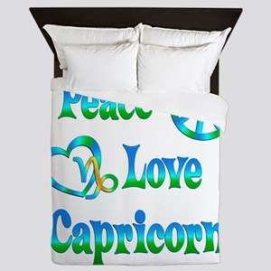 Peace Love Capricorn Queen Duvet