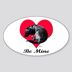 A Black Lab Valentine Oval Sticker