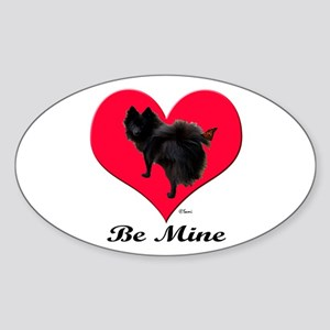 A Black Pomeranian Valentine Oval Sticker