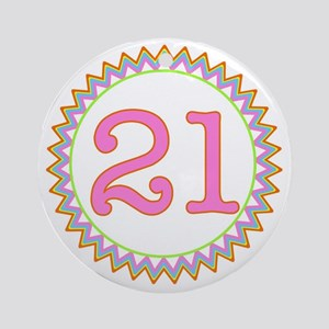 Number 21 Sherbert Zig Zag Round Ornament