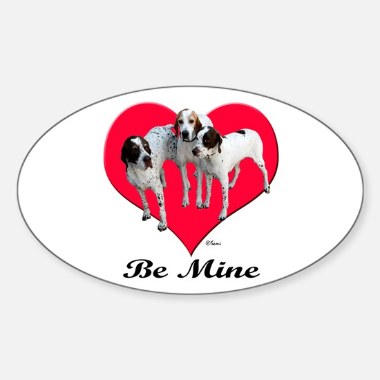 An English Pointer Valentine Oval Decal