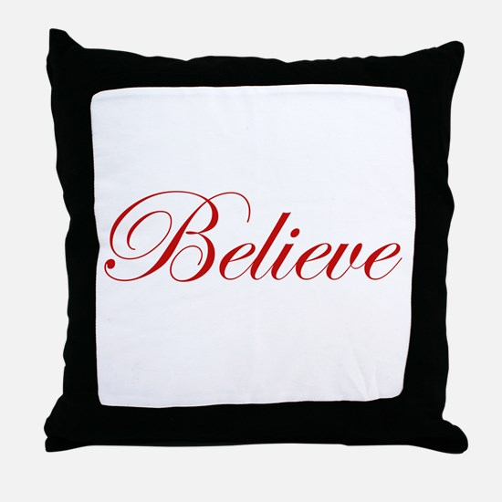 Red Believe Throw Pillow