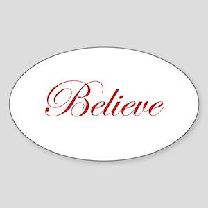 Red Believe Oval Sticker