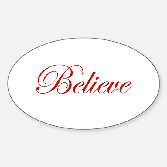 Red Believe Oval Decal