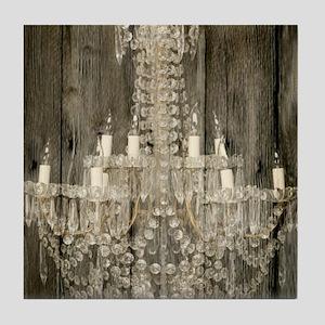 barnwood  chandelier rustic Tile Coaster