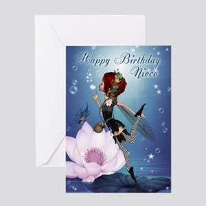 Niece Fairy Blowing Bubbles Birthday Greeting Card