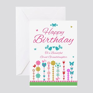 Great Granddaughter Pretty Birthday Card With Butt