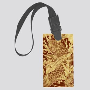 vintage japanese koi fish Large Luggage Tag