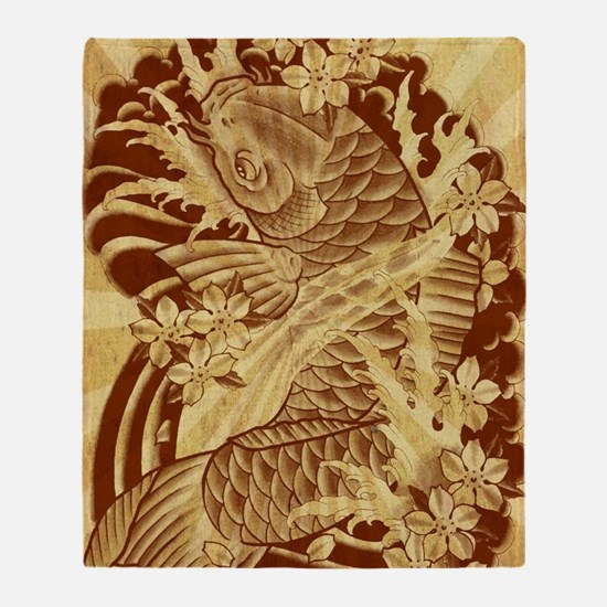 vintage japanese koi fish Throw Blanket