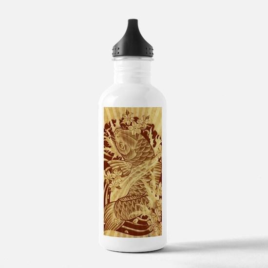 vintage japanese koi f Water Bottle