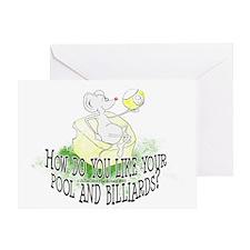 OTC Billiard Mouse Cartoon Greeting Card