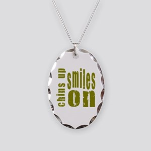 Chins Up Smiles On Necklace Oval Charm