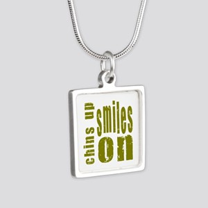 Chins Up Smiles On Silver Square Necklace