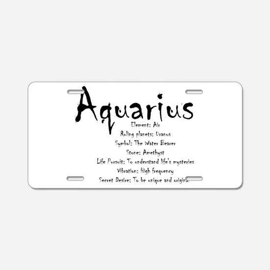 Aquarius Traits Aluminum License Plate