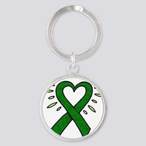HeartRibbon Round Keychain