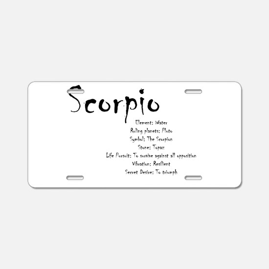 Scorpio Traits Aluminum License Plate