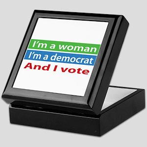 Im A Woman, a Democrat, and I Vote! Keepsake Box