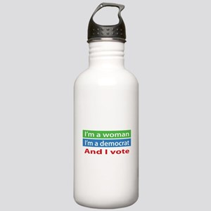 Im A Woman, a Democrat, and I Vote! Water Bottle