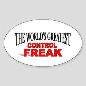 """The World's Greatest Control Freak"" Sticker (Oval"
