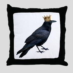 Raven King Throw Pillow