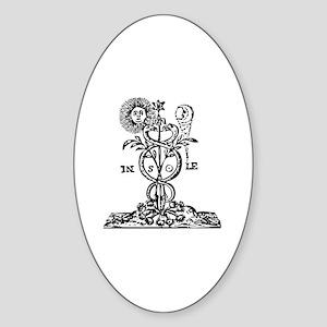 Caduceus Alchemy Symbol Oval Sticker