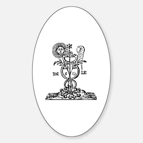 Caduceus Alchemy Symbol Oval Decal