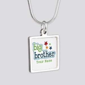Personalized Big Brother Silver Square Necklace