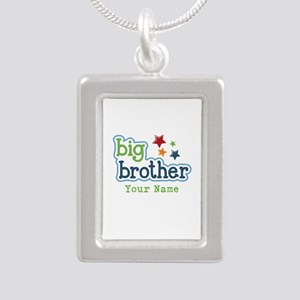 Personalized Big Brother Silver Portrait Necklace