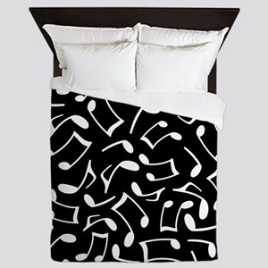 Music Notes Black and White Queen Duvet