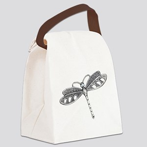 Metallic Silver Dragonfly Canvas Lunch Bag