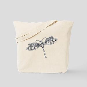 Metallic Silver Dragonfly Tote Bag