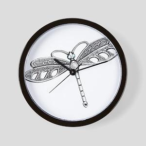 Metallic Silver Dragonfly Wall Clock
