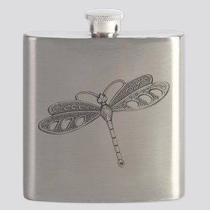 Metallic Silver Dragonfly Flask