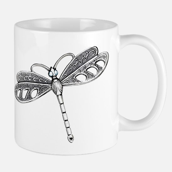 Metallic Silver Dragonfly Mugs