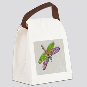 Purple Green Dragonfly in Reeds Canvas Lunch Bag