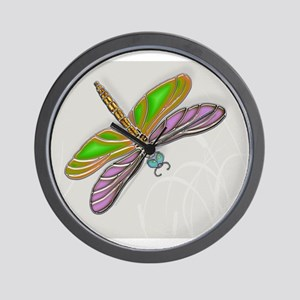 Purple Green Dragonfly in Reeds Wall Clock