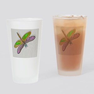 Purple Green Dragonfly in Reeds Drinking Glass