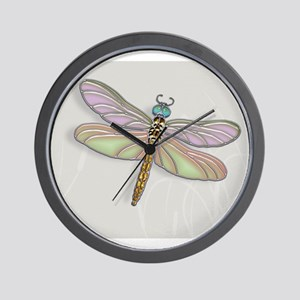 Lavender and Light Green Dragonfly Wall Clock