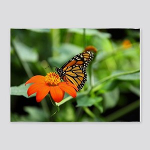 fantastic butterfly on flower 5'x7'Area Rug