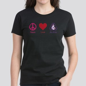 Peace, Love, BJJ 01 Women's Dark T-Shirt