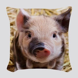 sweet piglet Woven Throw Pillow