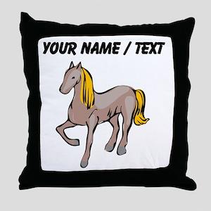 Custom Blond Hair Horse Throw Pillow